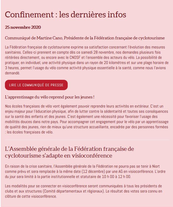 Confinement acte ii ffct infos 25 novembre 2020