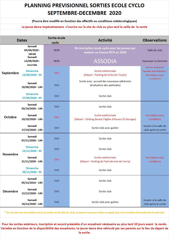 Planning ecole cyclo 2020 septembre decembre