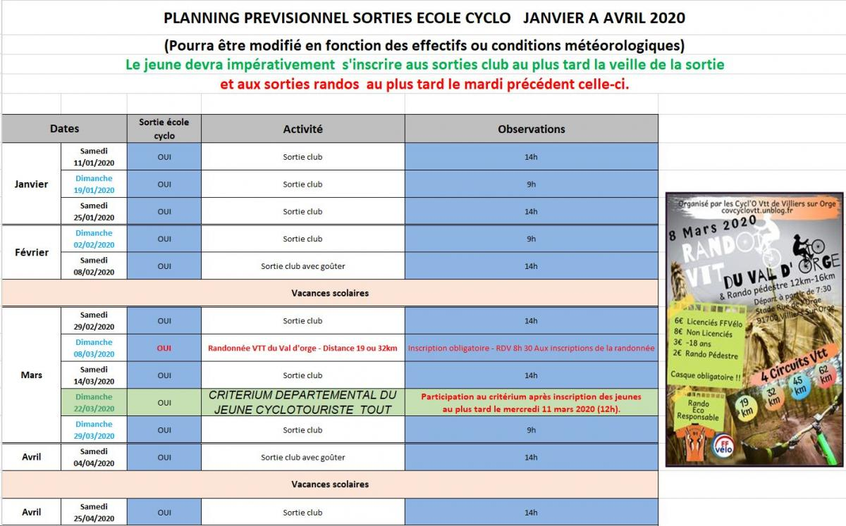 Planning ecole cyclo janvier avril 2021