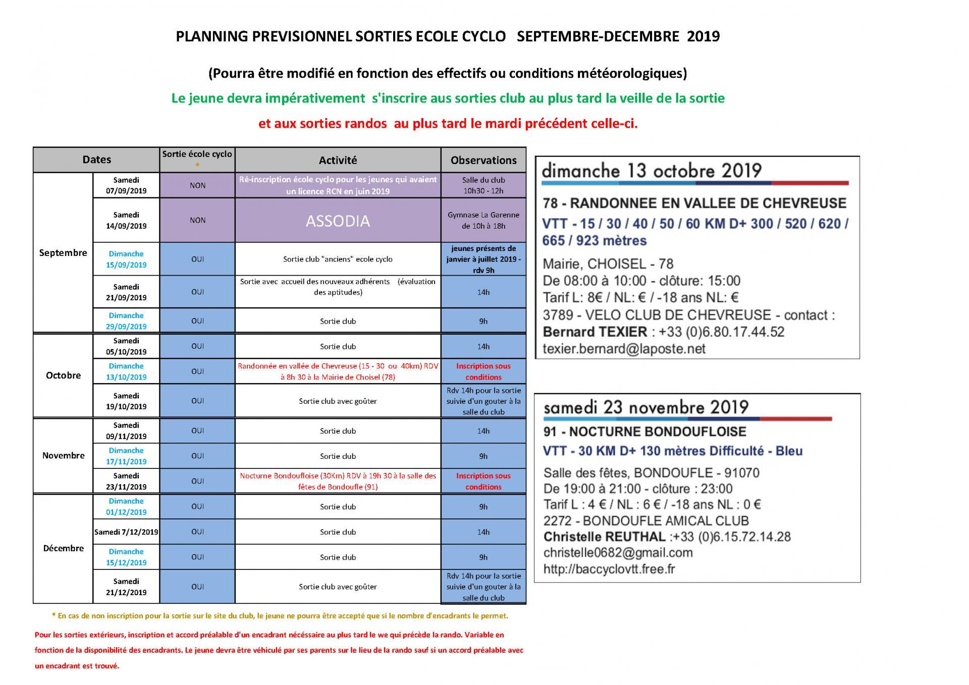 Planning ecole cyclo septembre a decembre 2020