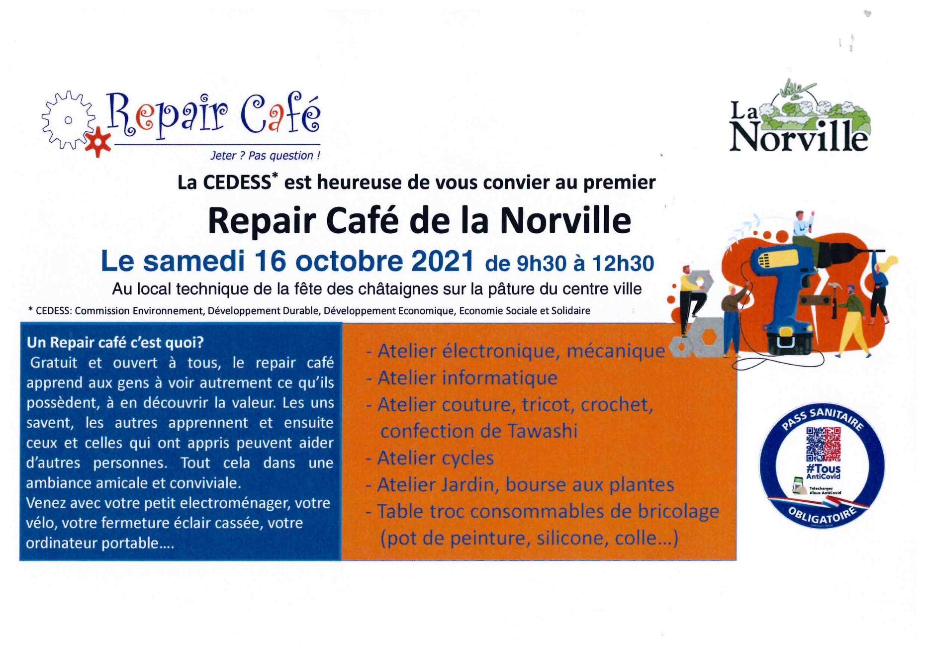 Repair cafe 16 octobre 2021
